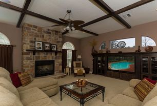 Contemporary Family Room with double-hung window, Reading nook, Fireplace, picture window, Arched window, Ceiling fan, Carpet