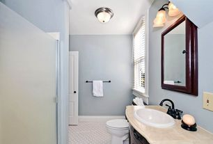 Traditional Full Bathroom with High ceiling, Inset cabinets, Madeira drop in bathroom sink in white, Flat panel cabinets