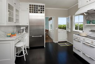 Traditional Kitchen with 1950's Hardwick Range, Nicks building supply exterior dutch door, Breakfast bar, Crown molding