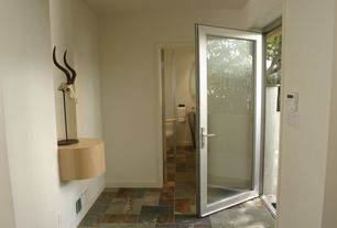 Contemporary Entryway with Ms international-desert trail pattern gauged slate floor and wall tile, Glass panel door