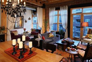 Eclectic Great Room with High ceiling, Laminate floors, Chandelier, Transom window, Exposed beam, French doors, Pendant light