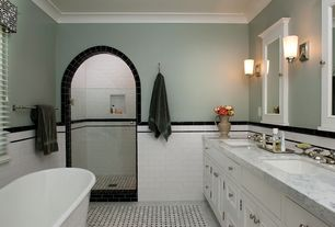 Traditional Master Bathroom with ceramic tile floors, Zenith early american surface-mount medicine cabinet, Wall sconce