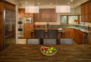 Contemporary Kitchen with Casement, Wood counters, Simple Granite, can lights, slate tile floors, Standard height, U-shaped