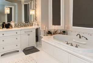 Traditional Master Bathroom with Arizona tile, CALACATTA BORGHINI, Marble, Arizona Tile, Crema Vosscione, Limestone.