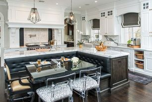 Contemporary Kitchen with George ii barstool, Smith & noble flat roman fabric shades, Paint 1, Paint