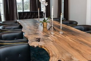 Contemporary Dining Room with Carpet, FlowBKK Live Edge Dining Table, High ceiling