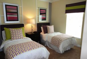 Contemporary Guest Bedroom with Crown molding, Carpet