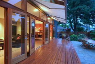 Contemporary Deck with Outdoor seating area, Wood deck flooring