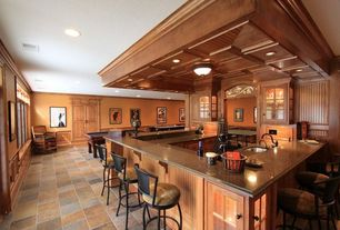 Traditional Bar with Paint, Standard height, travertine floors, Crown molding, flush light, Box ceiling, Slate floor tile
