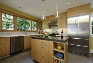 Contemporary Kitchen with Concrete counters, Undermount sink, Built-in bookshelf, L-shaped, Pendant light, Corian counters