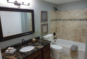 Contemporary Full Bathroom with Complex granite counters, Undermount sink, Flat panel cabinets, specialty door, Raised panel