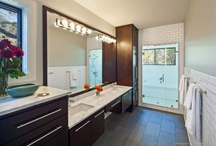 Contemporary Master Bathroom with wall-mounted above mirror bathroom light, Shower, Master bathroom, partial backsplash