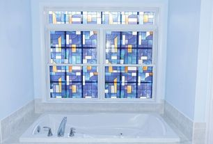 Eclectic Master Bathroom with drop in bathtub, Standard height, Stained glass window, Master bathroom, Bathtub