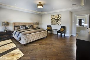 Traditional Master Bedroom with Crown molding, six panel door, can lights, Standard height, flush light, Hardwood floors