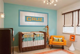 Contemporary Kids Bedroom with Casement, Chandelier, no bedroom feature, Carpet, Wall sconce, can lights, Standard height