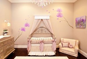 Traditional Kids Bedroom with no bedroom feature, Standard height, Hardwood floors, Chandelier, Mural, Crown molding, Paint