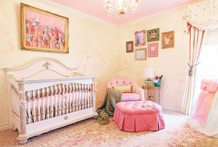 Traditional Kids Bedroom with Chandelier, Carpet, interior wallpaper, Crown molding