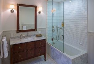Traditional Full Bathroom with Flat panel cabinets, Wainscotting, tiled wall showerbath, shower bath combo, Undermount sink