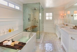Traditional Master Bathroom with terracotta tile floors, Master bathroom, Soho sconce - antique brass, frameless showerdoor