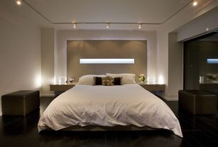 Contemporary Master Bedroom with flush light, High ceiling, Laminate floors