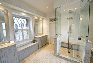 Traditional Master Bathroom with Handheld showerhead, Inset cabinets, Casement, Rain shower, Complex marble counters, Shower