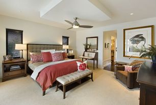 """Contemporary Master Bedroom with 52"""" minka concept brushed nickel ceiling fan, can lights, Wainscotting, Paint 1, Ceiling fan"""