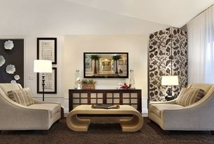 Contemporary Living Room with Wainscotting, Chair rail, Standard height, specialty window, Carpet