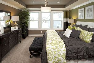 Traditional Master Bedroom with flush light, Crown molding, double-hung window, Standard height, can lights, Carpet
