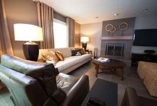 Contemporary Living Room with stone fireplace, travertine tile floors