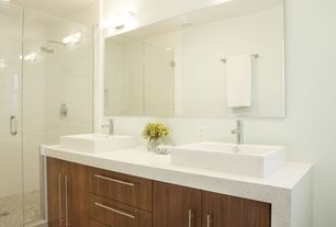 Contemporary Master Bathroom with George Kovacs Tube 3 Light Vanity Light, Pental Quartz Pearl White