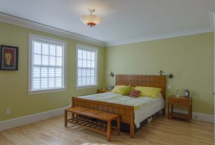 Contemporary Guest Bedroom with Hardwood floors, flush light, Crown molding, Anderson Teak Casablanca Teak Picnic Bench