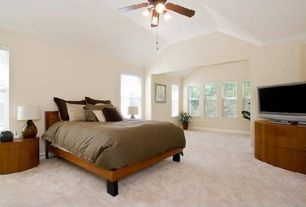 Contemporary Living Room with Crown molding, Carpet, Ceiling fan