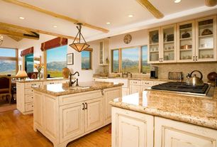 Country Kitchen with Undermount sink, Flush, Stone Tile, Glass panel, Exposed beam, Simple granite counters, U-shaped