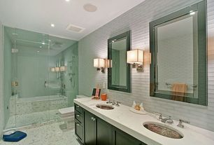 Contemporary Master Bathroom with Bathtub, Signature Hardware - Cadence Satin Nickel-Plated Hammered Copper Sink, can lights