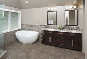 Contemporary Master Bathroom with Casement, Master bathroom, Complex marble counters, Shower, frameless showerdoor, Flush