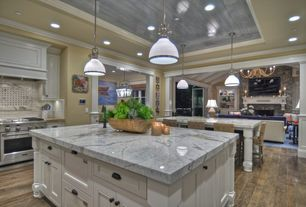 "Traditional Kitchen with Tungston Hardwood - Unfinished Walnut American Walnut - Natural  3"", One-wall, Kitchen island"