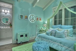 Modern Kids Bedroom with Wall sconce, Paint, Target - room essentials marquee peace sign small, Laminate floors, flush light