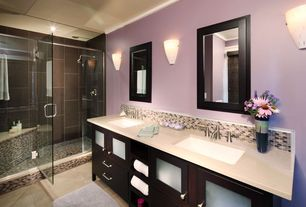 Contemporary Master Bathroom with Double sink, Rain shower, Flush, Choose Frameless Pivot Hinge Shower Door Configurations
