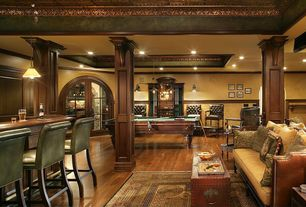 Rustic Game Room with Copper metal ceiling, Panel wrapped columns