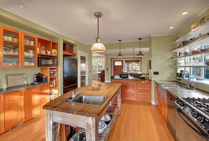 Contemporary Kitchen with Flush, Glass panel, Farmhouse sink, U-shaped, Crown molding, Flat panel cabinets, Concrete counters