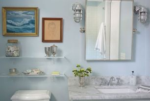 Contemporary Full Bathroom with Flat panel cabinets, Complex marble counters, Marble countertop, Nautical cage sconce, Flush