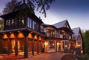Traditional Exterior of Home with Private backyard, Balcony, Screened porch, Outdoor lighting, Paint, Screened porch