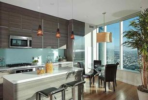 Contemporary Kitchen with Elk lighting classico 1 light pendant, Dcor design corliving adjustable height bar stool