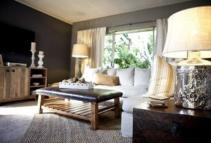 Contemporary Living Room with Standard height, Carpet, Paint 1, specialty window, Crown molding, Jasper Bench, Paint 2
