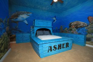 Tropical Kids Bedroom with Ceiling fan, Paint 1, Carpet, Blessings of the Sea Wall Mural, can lights, Mural, Standard height