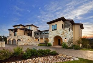 Contemporary Exterior of Home with Paint, Exterior stone cladding, Tile roof