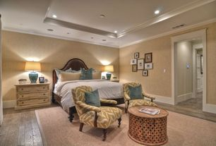 Contemporary Master Bedroom with Lattice drum coffee table, Hardwood floors, Standard height, Paint, Crown molding