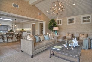Contemporary Great Room with Beadboard ceiling, interior wallpaper, can lights, Chandelier, Casement, Exposed beam, Paint