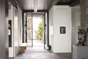 Contemporary Entryway with Exposed beam, French doors, Concrete tile , can lights, Standard height, Concrete floors
