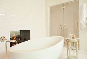 Contemporary Master Bathroom with Fireplace, Freestanding, Standard height, Bathtub, Master bathroom, Vinyl floors